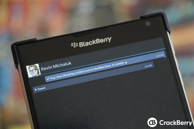 WhatsApp updated in the BlackBerry Beta Zone