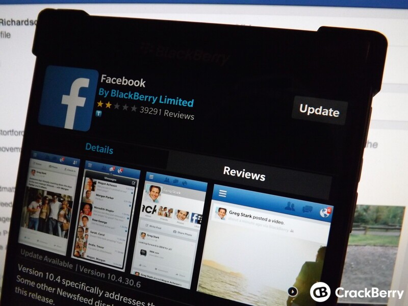 Facebook updated for BlackBerry 10