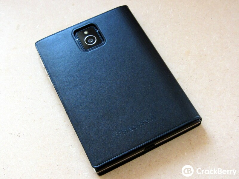 BlackBerry Passport Leather Flip Case Back View