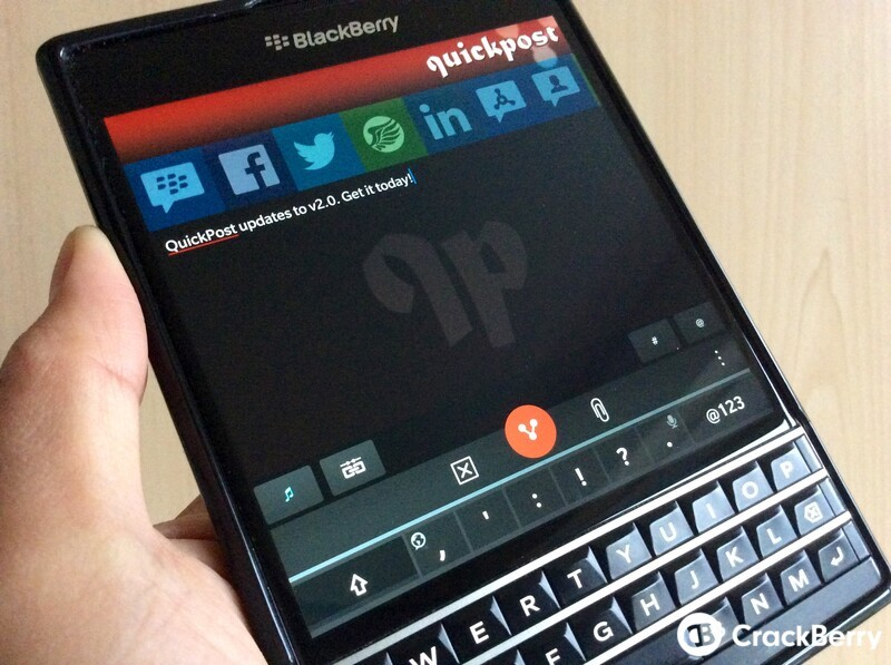 QuickPost 2.0 hits BlackBerry World with a new design and a bucket load of new features