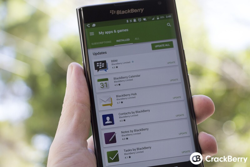BBM, BlackBerry Hub, Calendar, Contacts and more updated for the Priv