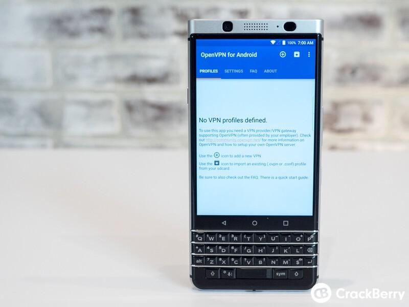 VPN on BlackBerry KEYone