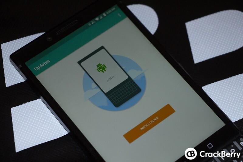 BlackBerry KEY2 update screen