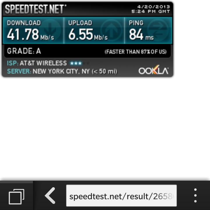 BlackBerry Q10 LTE Speedtest