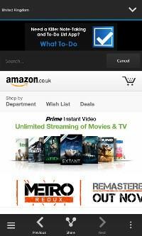 Shopping for Amazon Main screen