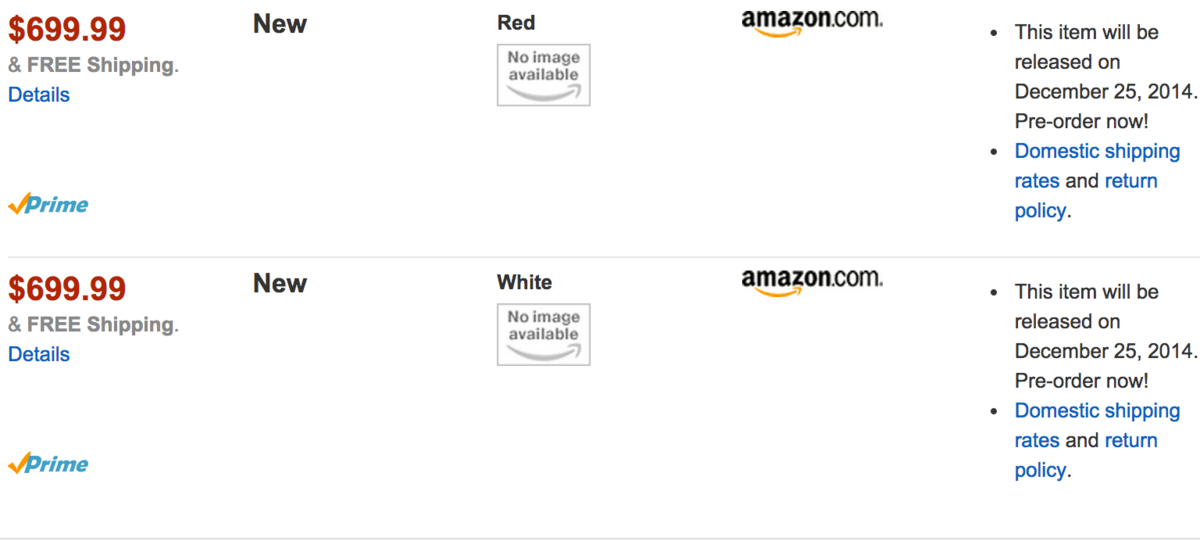 Amazon pre-order listing reveals Christmas launch date for red and ...