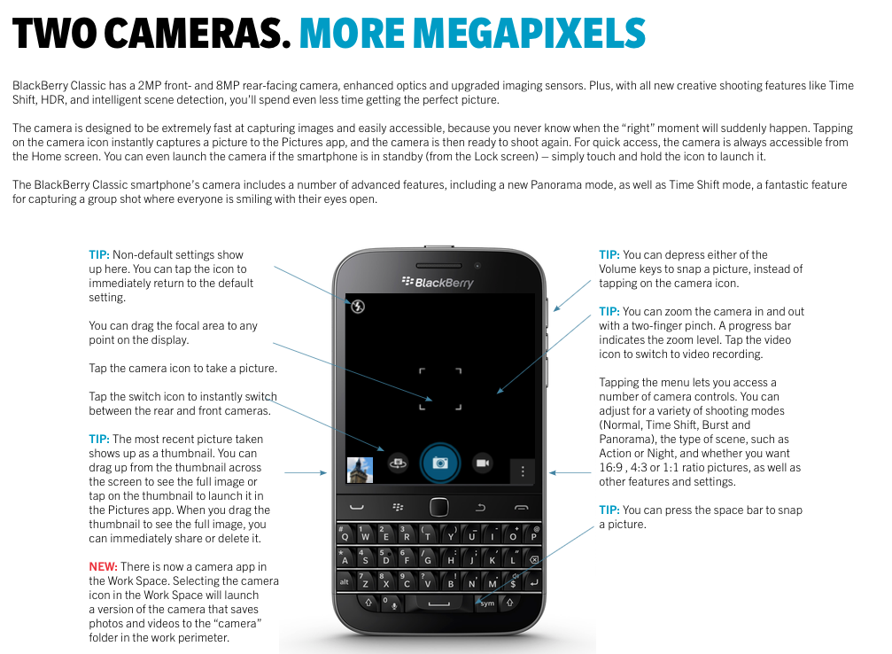 BlackBerry Classic Camera Highlights