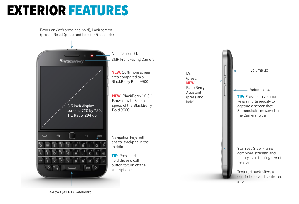 BlackBerry Classic Exterior Features