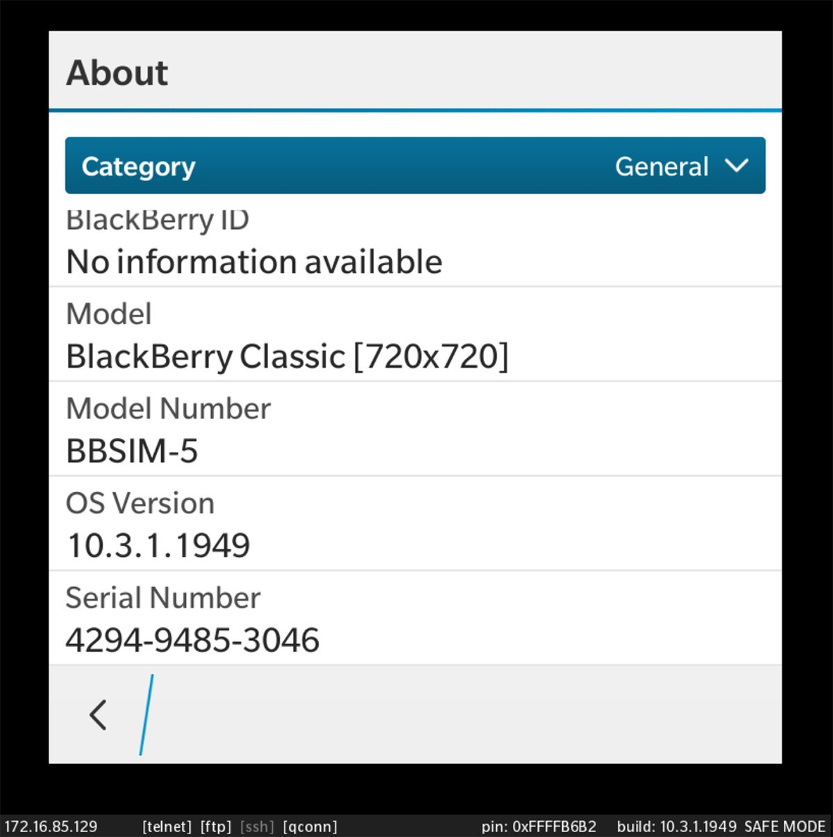 BlackBerry OS 10.3.1.1949 device simulator now available