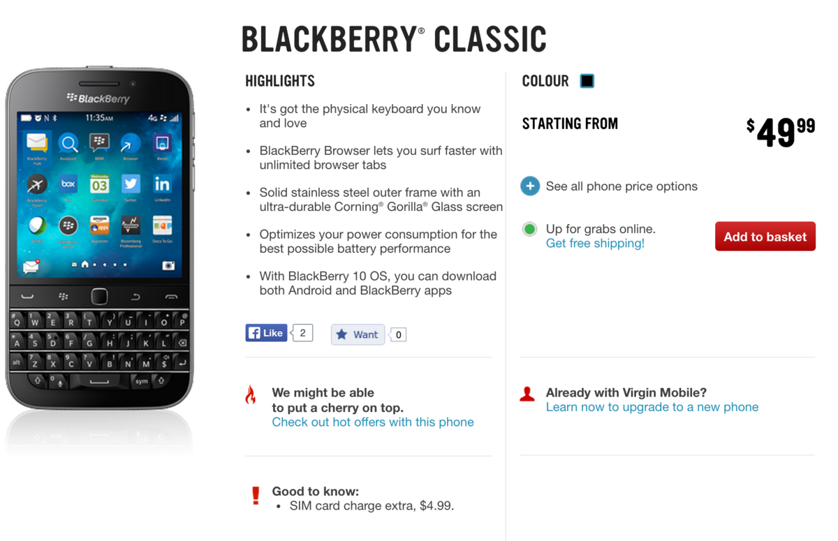 BlackBerry Classic now available through Virgin Mobile Canada