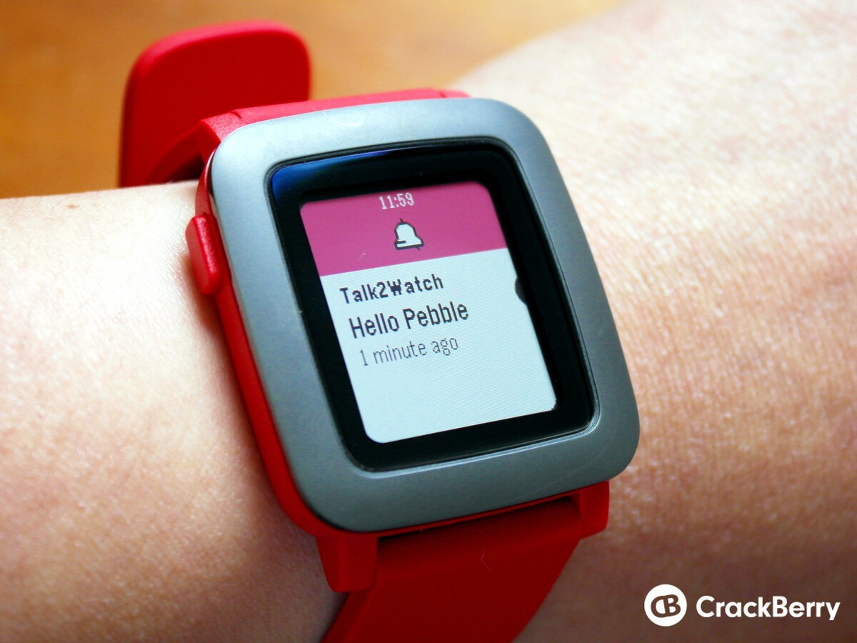 Talk2Watch Pro Pebble Time welcome notification