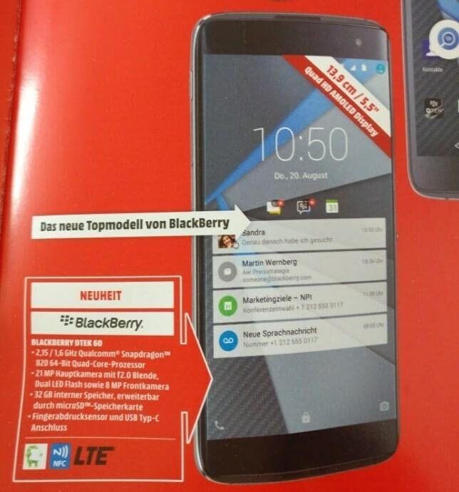 BlackBerry DTEK60 will be available from Media Markt