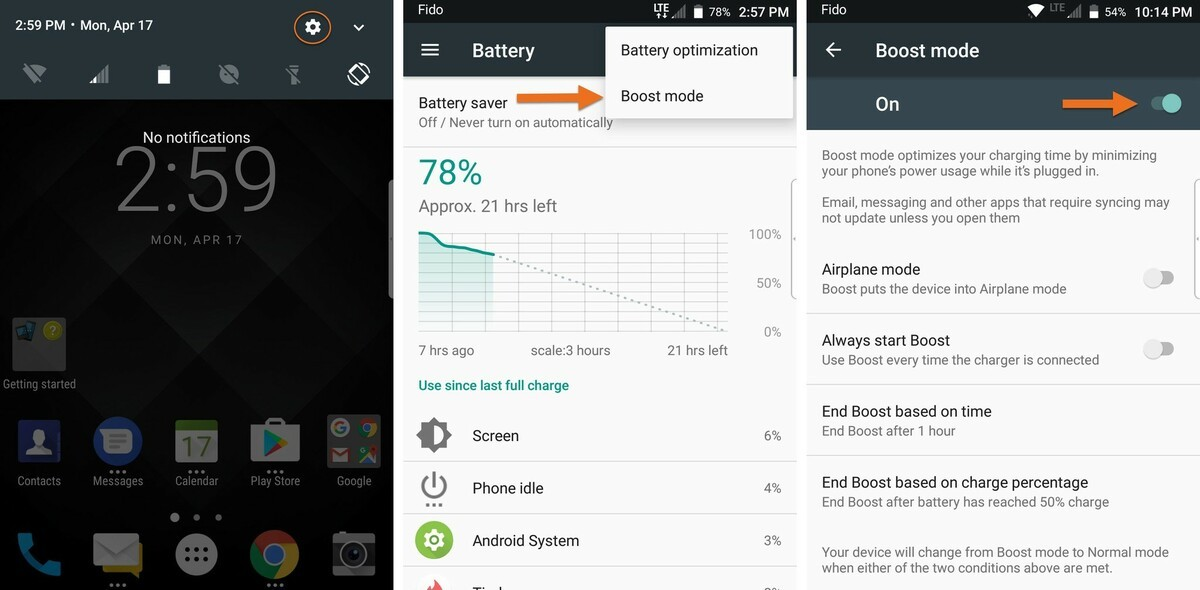BlackBerry KEYone Boost Mode