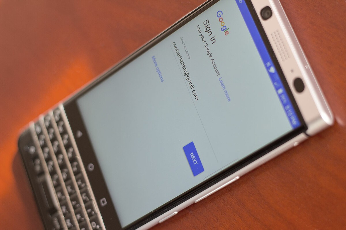 How to add a Google account to the BlackBerry KEYone
