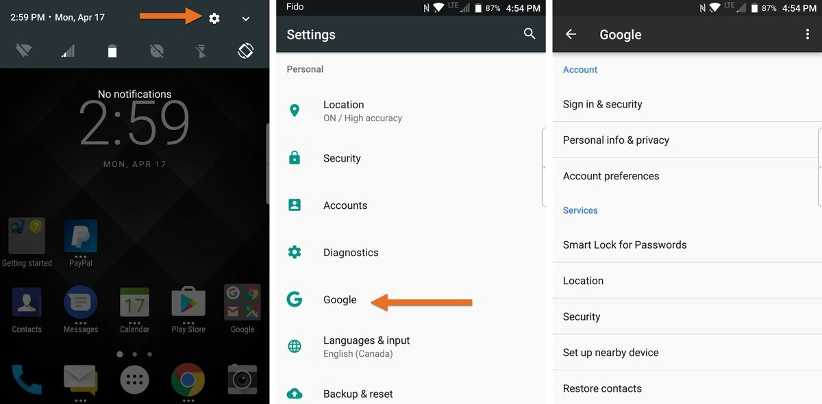 Changing Google accounts on the BlackBerry KEYone