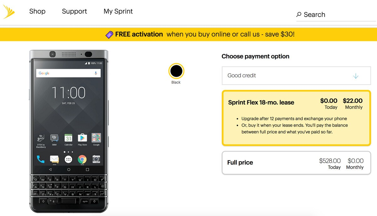 BlackBerry KEYone Available on Sprint Starting Tomorrow