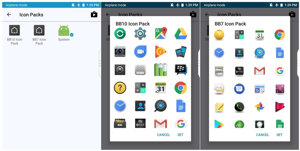 The latest BlackBerry Launcher includes BB10 and BB7 icon packs Icon Packs BB10  BB7 0