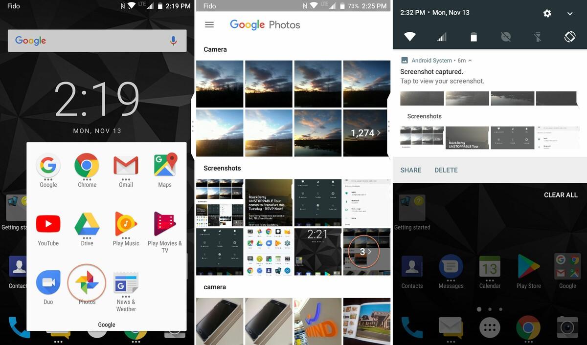 BlackBerry Motion screenshot access