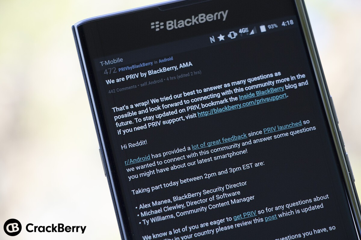 Six interesting takeaways from BlackBerry's Priv AMA on Reddit