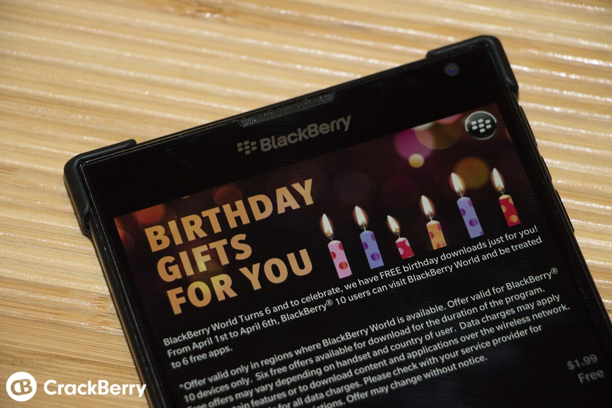 Celebrate BlackBerry World's 6th birthday with some free apps!