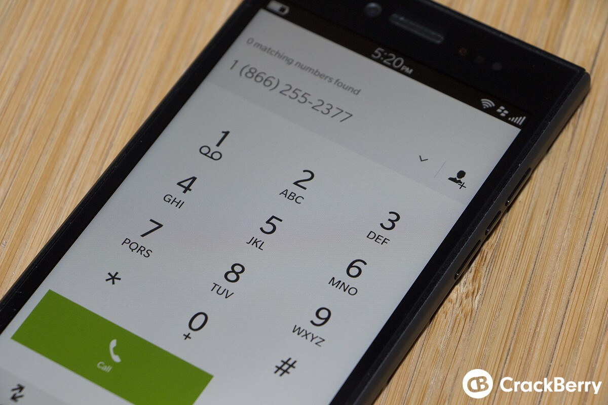 BlackBerry Leap Phone Dialer