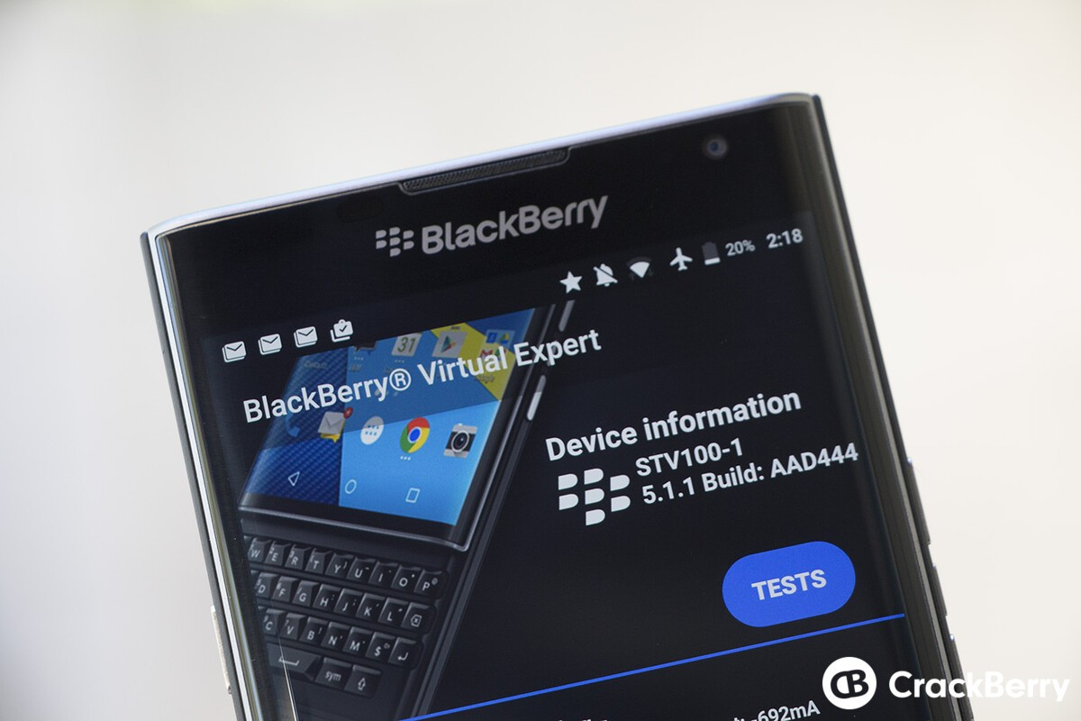 BlackBerry Virtual Expert update for Priv adds more tests and clears up some bugs