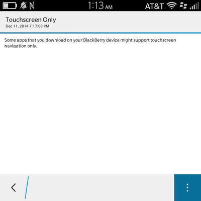 Android App Touchscreen Only Warning