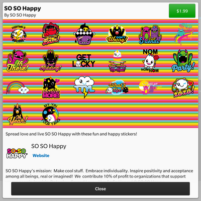 So So Happy BBM stickers now available in the BBM Shop