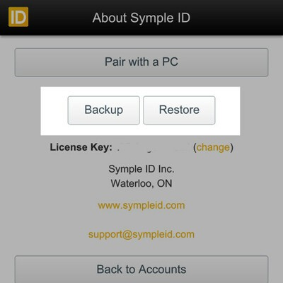 Symple ID backup and restore options
