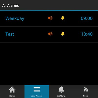 Talking Alarm alarms view