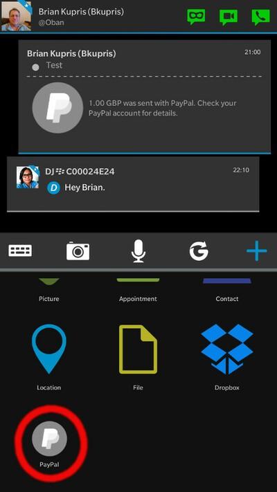 BBM PayPal option