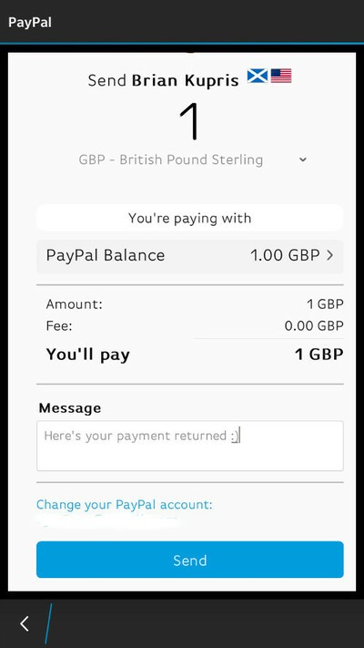 BBM PayPal confirmation of payment