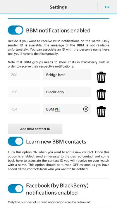 BBM settings in Bridge app