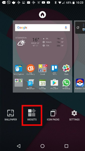 Add BlackBerry Hub Widget Step 2