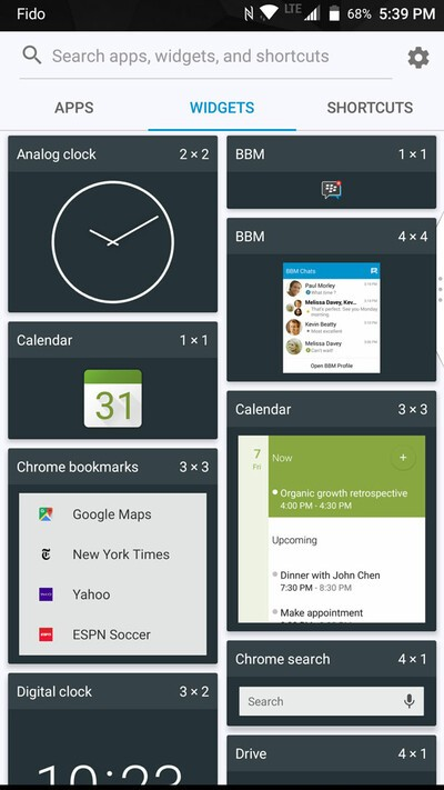 BlackBerry Motion widgets