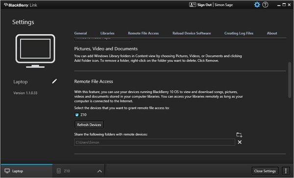 How to access your PC files from your BlackBerry 10 device