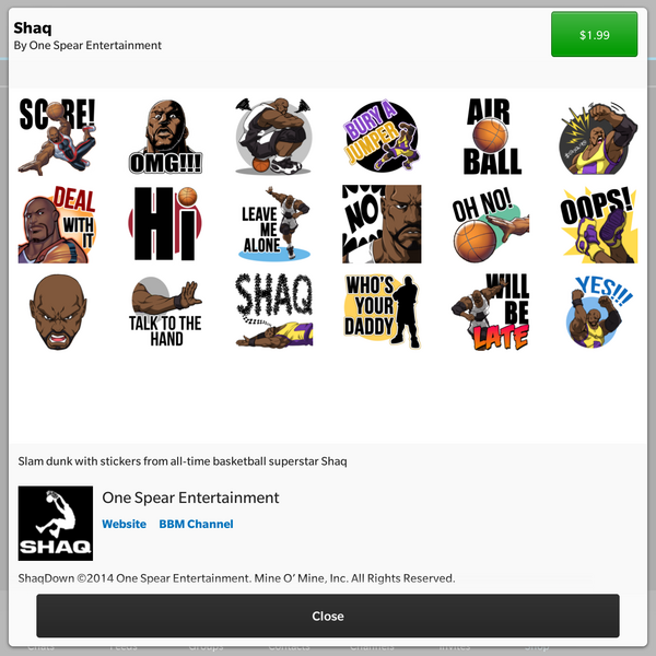 Shaq stickers arrive in the BBM Shop! | CrackBerry com