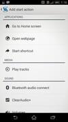 Sony Xperia Z2 start actions