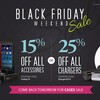 Black Friday Weekend Sale: 25% off chargers or 15% off accessories!