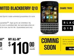 Sprint BlackBerry Q10 landing page invites pre-registration