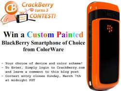 CrackBerry Turns 3 Birthday Contest: Win a Custom-Painted ColorWare BlackBerry Smartphone!