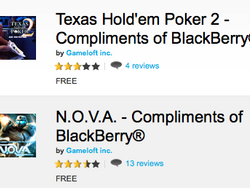 Texas Holdem Poker 2 and N.O.V.A now free compliments of BlackBerry