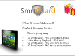 SmrtGuard celebrates their 2 year anniversary - Enter to win a BlackBerry PlayBook or a subscription to SmrtGuard!