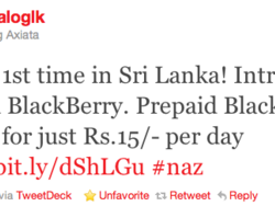 Dialog Axiata brings prepaid BlackBerry for the first time in Sri Lanka