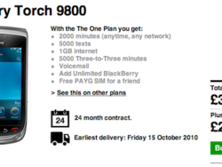 Three is the next carrier to offer up the BlackBerry Torch 9800