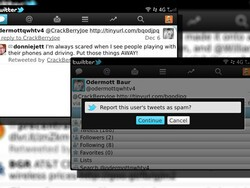 Reporting spam with Twitter for BlackBerry