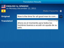 Communilator for BlackBerry - Advanced language translation application