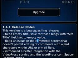 Wordpress for BlackBerry updates to v1.4.1