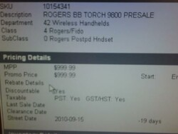 Future Shop systems showing Sept 15th release date for Rogers BlackBerry Torch 9800
