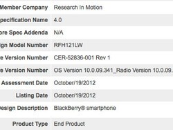 BlackBerry 10 smartphone (RFH121LW) now certified for Bluetooth 4.0